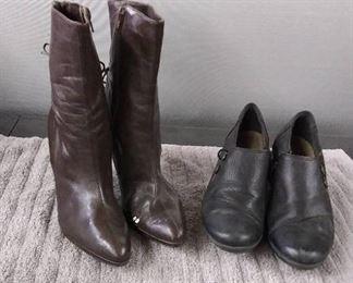 2 Pair Size 8 Women's Shoes Brown Gianni Bini & Black Clarks