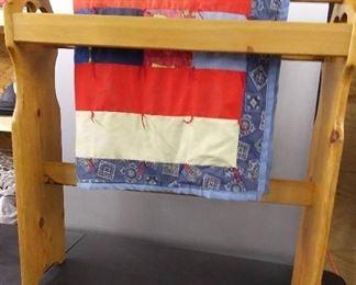 Red, White, Blue & Sponge Bob Quilt & Quilt Rack