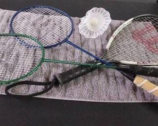 Wilson Racket Ball Racket and 2 East Point Badminton Rackets