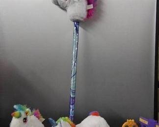 Unicorn Stick Horse/ Plush Unicorn/ Unicorn Stable/ Unicorn with Hidden Pouch