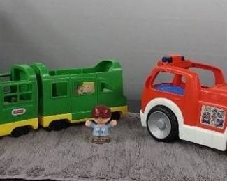 Fisher Price Little People Train & Fire Truck