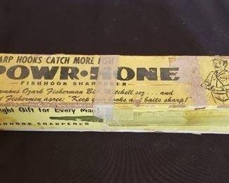Vintage Powr-Hone Fishhook Sharpener with Original Instructions and Warranty Paperwork
