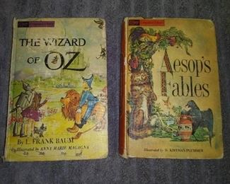 2 From The Companion Library (Copywrite 1944) The Wizard of Oz by L. Frank Baum & Aesop's Fables and Not Colored in 1980 The Wizard of Oz Giant Coloring Book with Bag