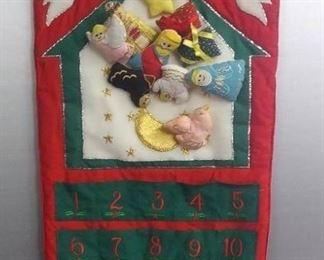 Cloth Hanging Christmas Calendar W/Holiday Stockings