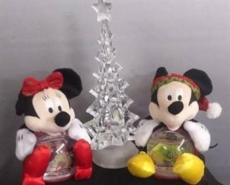 Picture Frame Mick Mouse And Mini Mouse Snow Globes And Glittery Clear Christmas Tree
