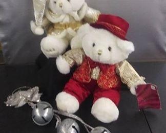 2003 Keepsake Memories Bears And Silver Large Christmas Door Bells On Rope