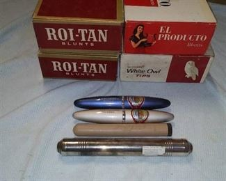 1 Sterling Silver Cigar Holder, 4 Empty Cigar Boxes & 3 Plastic Cigar Holders
