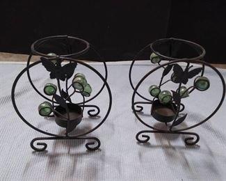 Set of 3 New Brass Votive Holders & Butterfly Votive Holers