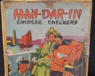 Vintage Man-Dar-In Chinese Checkers In Original Box