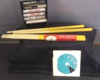 Misc. Cassette Tapes And Holder ,  Drum Sticks And Play Drums DVD