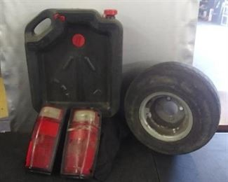 Oil Container, Misc .Tail Lights, Lawn Mower Wheel and Tire