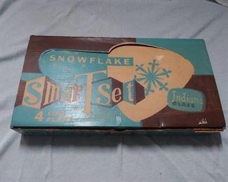 Vintage Indiana Glass Snowflake Smartest Tea Set for 4 in Original Box