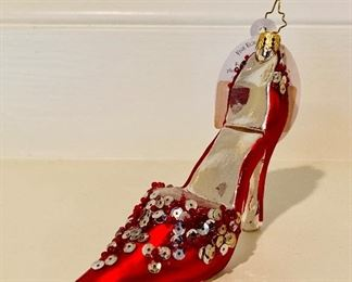 RARE CHRISTOPHER RADKO HOLIDAY HO SHOE RED HIGH HEEL GLASS ORNAMENT RETIRED Only $75 plus tax