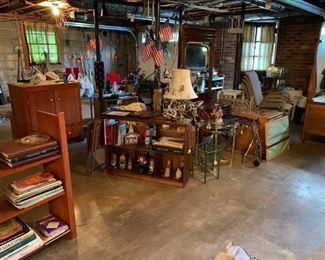 Books, antique dressers, hand built hi-fi cabinet, tools, collectibles