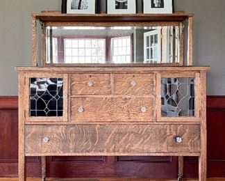 """Item 99:  Antique Mirrored Tiger Oak Buffet with Leaded Glass Doors and Casters - 54""""l x 22.5""""w x 63""""h:  $545"""