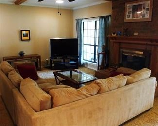 Tan Sectional Sofa by Johnathan Louis Furniture Manufacturing Co.