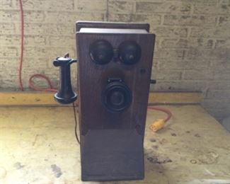 Antique wall mounted crank telephone