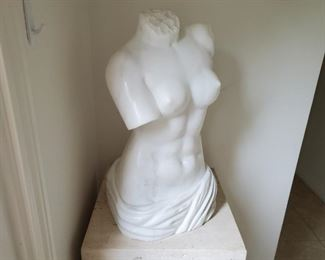"""No. 106 Polished white marble nude bust - 24"""" t, 13"""" w, 13"""" d - $2,500 - Marble stand - 36"""" t, 18"""" x 18"""" - $595"""