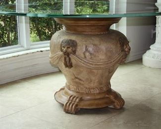 """no. 116 Large round glass top table - Glass top etched/painted Lion heads, Lion Heads on base - top 60"""" across, 30 1/2"""" tall - $895"""