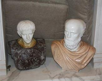 """no. 129 Pair of marble bust - Roman Caesar - 18 1/2"""" tall - $1,500 - Greek 19"""" tall - $1,750"""
