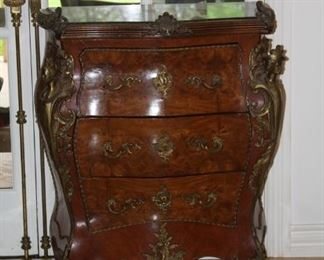 """no. 132 Three-drawer chest burl wood with ormolu green marble top - 37"""" t, 30"""" d, 17"""" d - $ 795"""