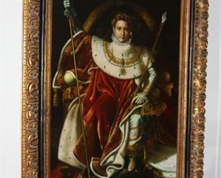 """no. 139 Large oil painting on canvas - """"Napoleon on Imperial Throne"""" - 48"""" x 72"""" frame 66"""" x 88"""" - beautiful frame and great detail - $ 1,500"""
