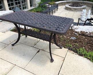 Cast aluminum patio serving / console / buffet table