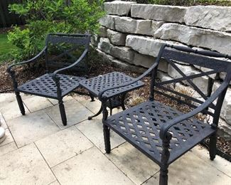 Cast aluminum patio chairs and side drink table