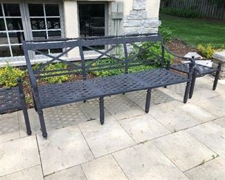 Cast aluminum patio - sofa length seat and back cushions available. 2 side pieces are the ottomans which go with the side chairs in previous photos