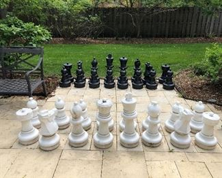 Patio chess set - heavy duty all weather plastic - a few have cracks on top