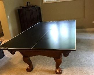 AVAILABLE FOR PRESALE - beautiful Brunswick Contender 8ft pool table with blue felt & table tennis cover - contact for price