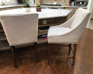 Counter height stools - 3 available - linen with nailhead trim