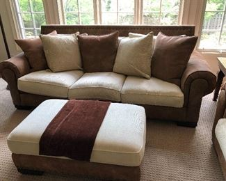 """leather and linen mixed textures sofa, ottoman and large chair - sofa is 102""""L x 38.5""""H x 44""""D, ottoman is 42""""L x 27""""W, chair is 53""""W x 38.5""""H x 44""""D"""