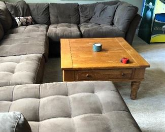 family room or basement rec room sofa - brown microfiber tufted sectional