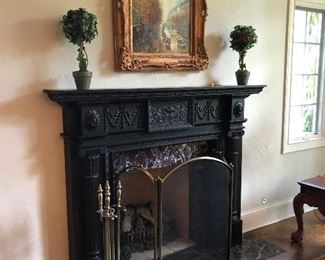 faux topiary, oil painting, brass fireplace tools