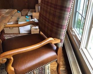Polo Ralph Lauren for Henredon dining chairs - leather seats, plaid fabric, nail head trim
