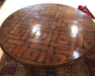 """parquet top round pedestal table - 42"""""""