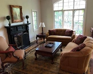 view of living room furniture and Horchow area rug