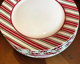 Candy cane striped Christmas plates