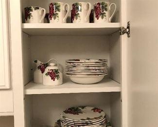 Royal Doulton Vintage Grape plates, bowls, cups, creamer & sugar