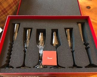Baccarat Crystal Bubbles champagne stemware gift collection - new in box