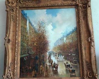 Pencke French street scene oil in carved frame