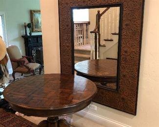 large metal tile framed wall mirror