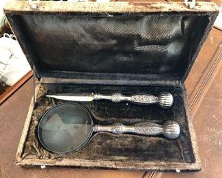 Vintage desk set, magnifying glass and letter opener