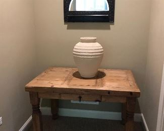 Natural wood table, Mexico  Carved wood hallway mirror with hooks