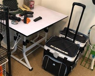 wheeled coolers, small craft/drafting table, Wilson racquet
