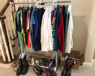 Men's dry fit shirts/athletic wear and women's boots & shoes