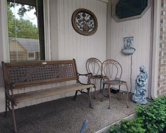 Outdoor wooden bench, vintage metal chairs