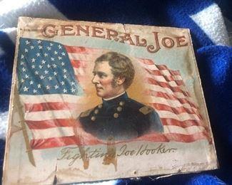 Fighting General Joe Hooker cigar box lid