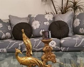 Vintage brass coffee table & 2 matching end tables, Sofa with matching love seat